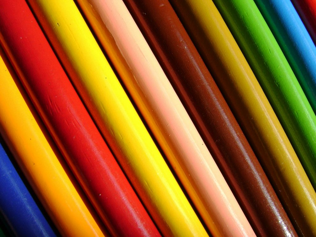 Colored pencils. Represents color theory for videographers and editors.
