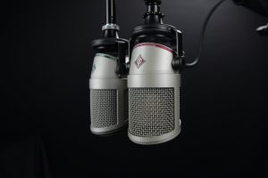 two microphones hanging