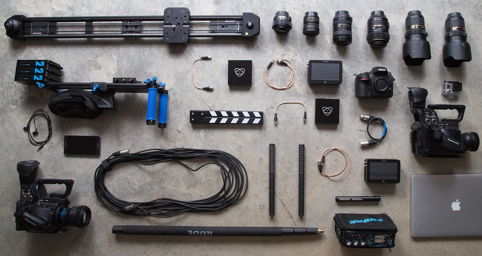 assorted film equipment