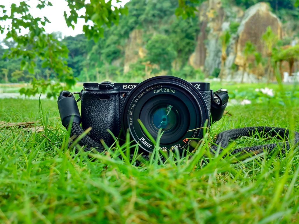 camera laying on grass